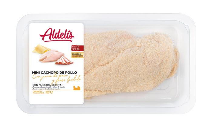 Mini cachopo de pollo, jamón de pavo y queso fundido
