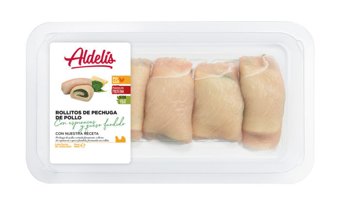 Rollitos de pechuga de pollo con espinacas y queso fundido