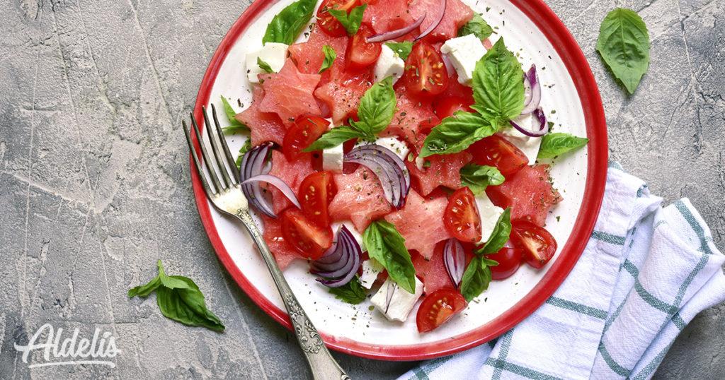 ensalada de tomate y sandia