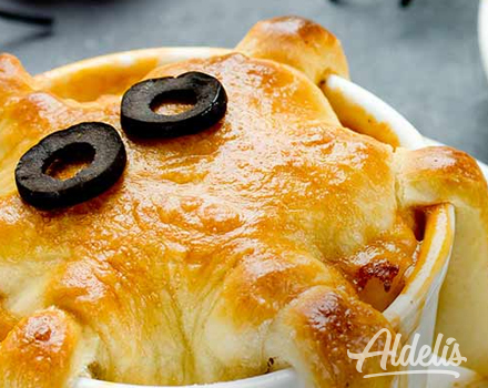 Pastel de calabaza con pollo Halloween Aldelís