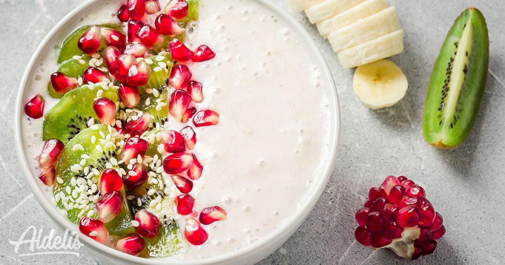 Yogur con kiwi y granada Aldelís