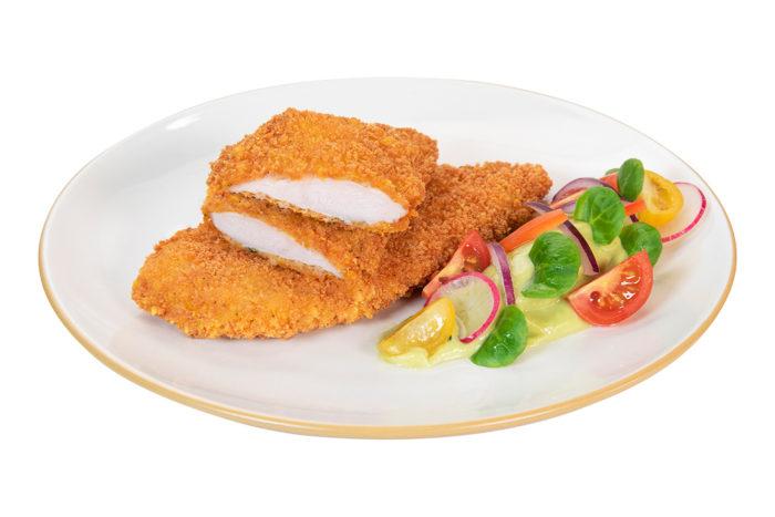 Solomillos de pollo extracrujientes cocinados Plato